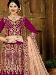 Purple Velvet Embroidered Lehenga Choli