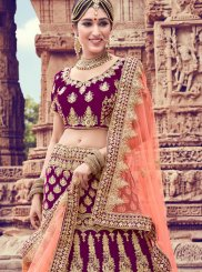 Purple Velvet Embroidered Trendy Lehenga Choli
