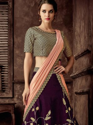 Purple Velvet Lehenga Style Saree