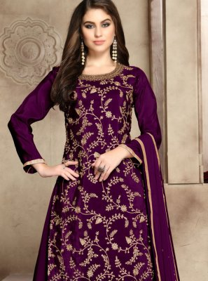 Purple Viscose Party Palazzo Salwar Suit