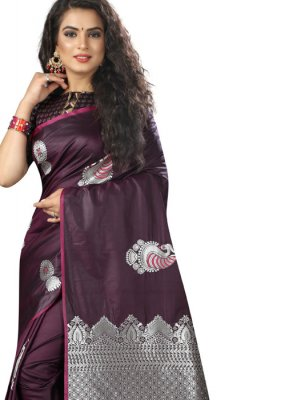 Purple Weaving Art Silk Designer Traditional Saree