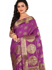 Purple Weaving Art Silk Traditional Designer Saree