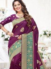 Purple Weaving Art Silk Traditional Saree