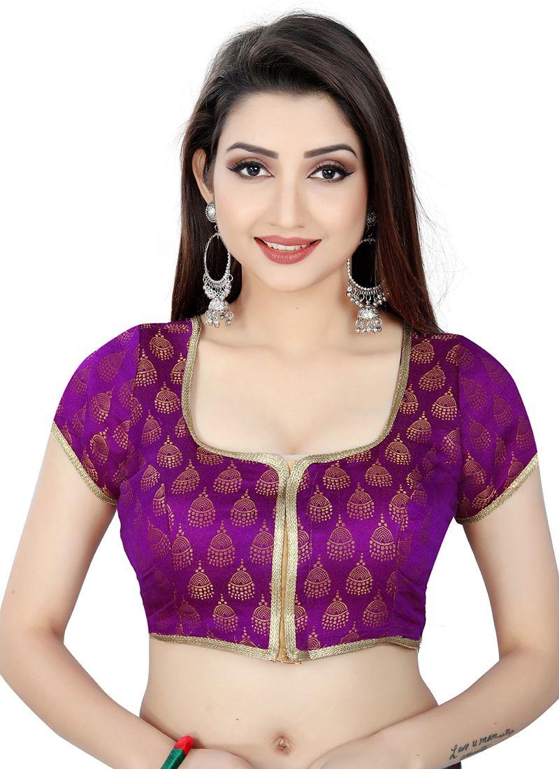 Purple Weaving Brocade Designer Blouse