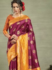 Purple Weaving Tussar Silk Traditional Designer Saree