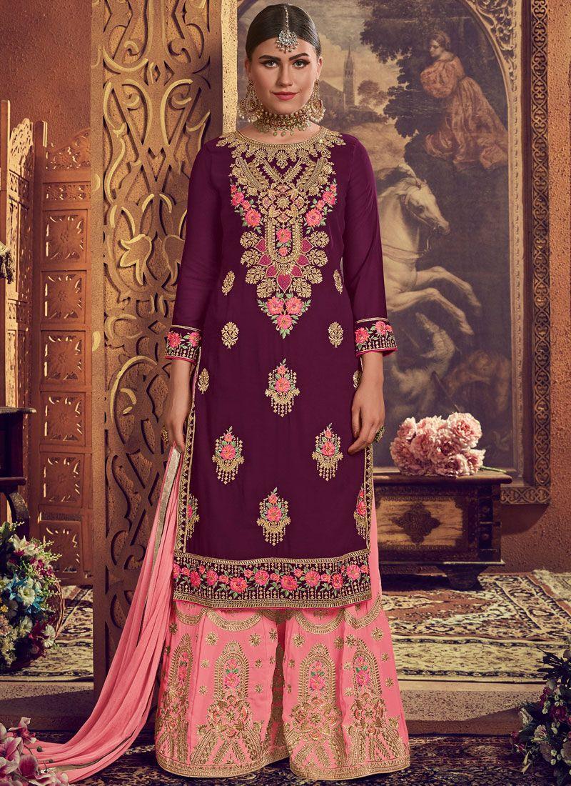 Purple Wedding Palazzo Salwar Suit