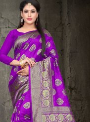 Purple Woven Art Silk Traditional Saree