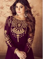 Purple Zari Georgette Anarkali Salwar Kameez