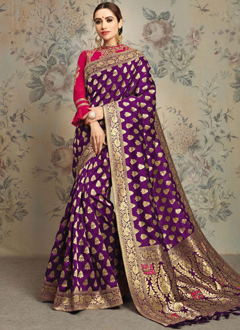 Purple Zari Jacquard Silk Classic Saree