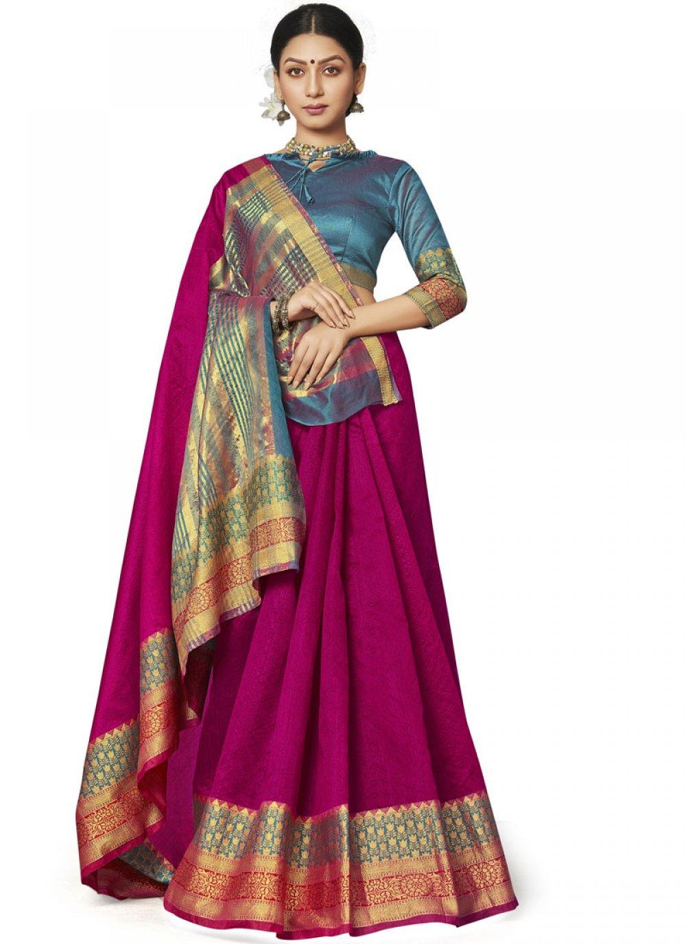 Rani Border Art Silk Designer Saree