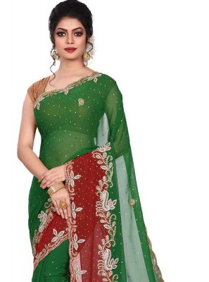 Rani Georgette Designer Traditional Saree