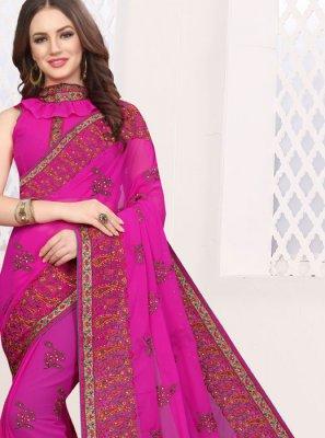Rani Patch Border Faux Georgette Classic Saree