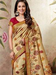 Raw Silk Abstract Print Multi Colour Traditional Saree