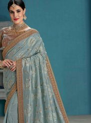 Raw Silk Embroidered Grey Designer Traditional Saree