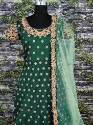 Raw Silk Floor Length Anarkali Suit in Green