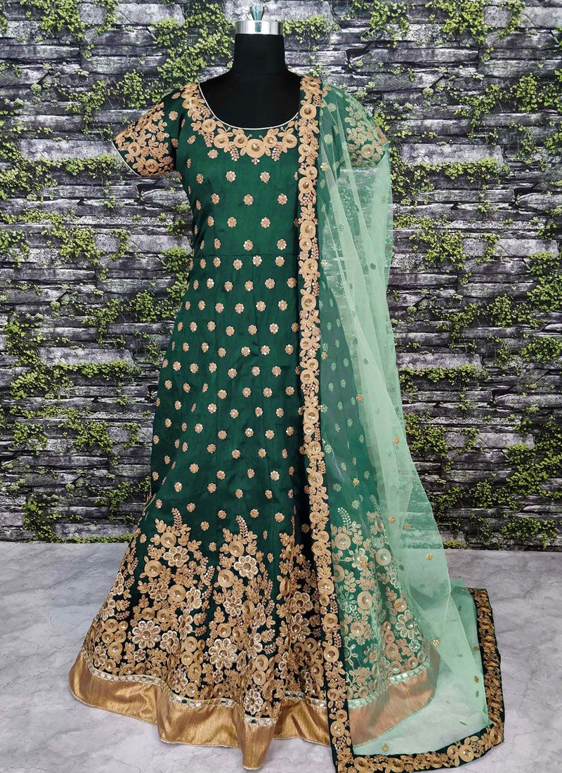 Raw Silk Floor Length Anarkali Suit in Green