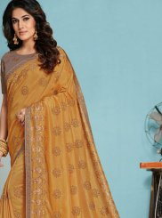 Raw Silk Gold Designer Traditional Saree