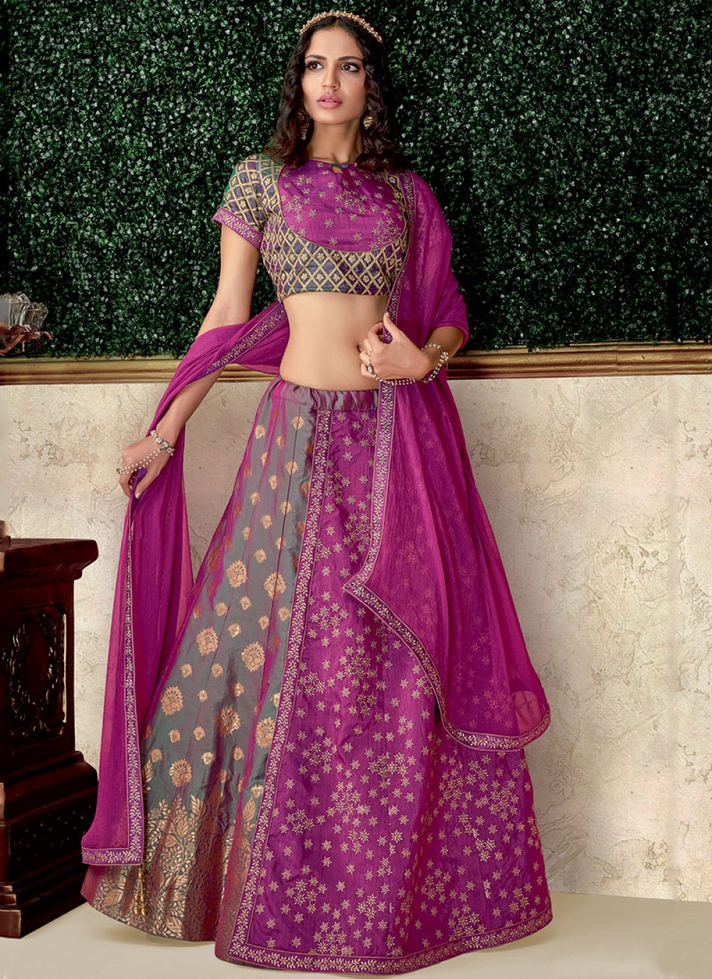 Raw Silk Lace Lehenga Choli