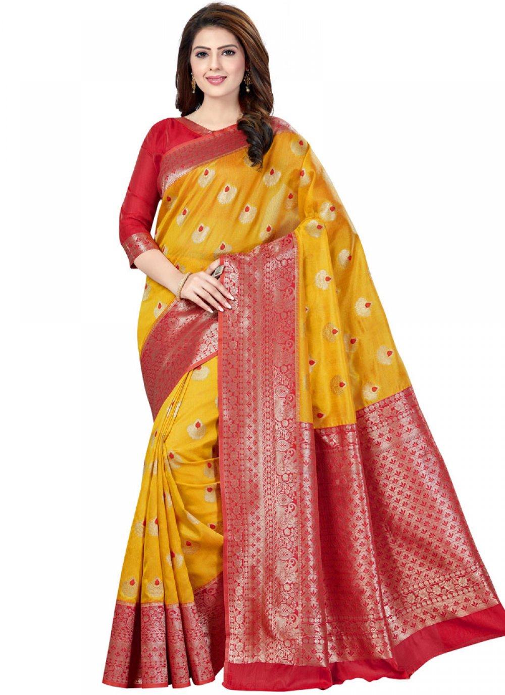 Raw Silk Mehndi Classic Saree