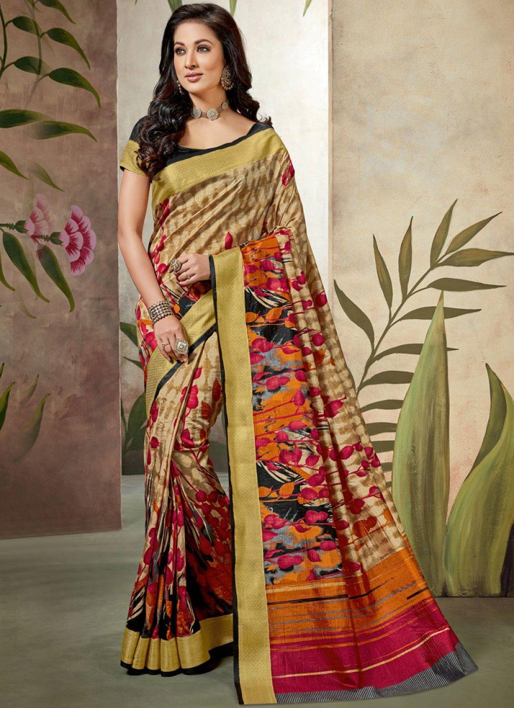 Raw Silk Multi Colour Traditional Saree