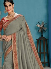Raw Silk Patch Border Grey Designer Traditional Saree
