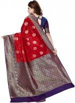 Raw Silk Red Trendy Saree