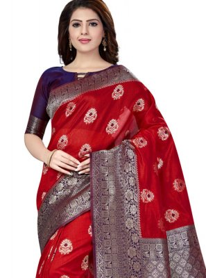 Raw Silk Red Trendy Saree