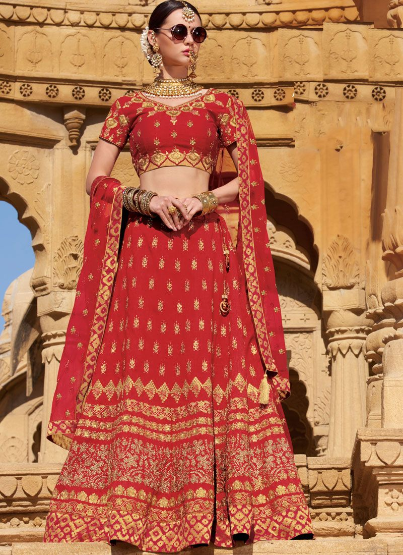 Raw Silk Trendy Designer Lehenga Choli
