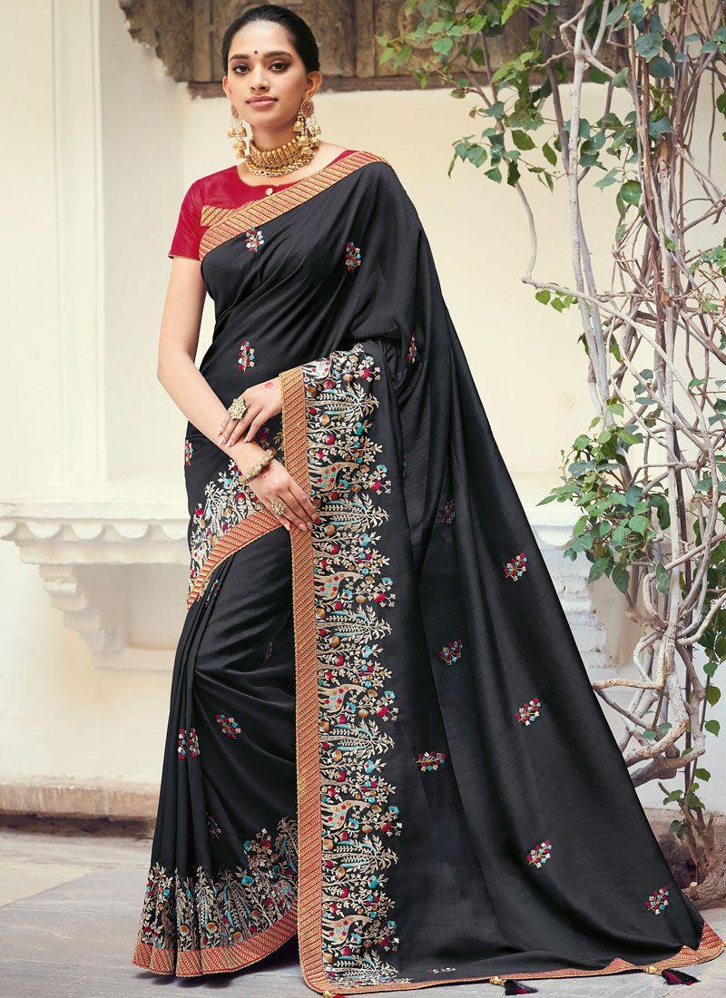 Raw Silk Weaving Black Traditional Designer Saree