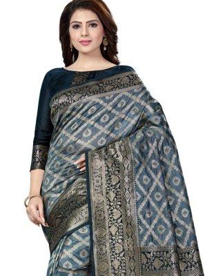 Raw Silk Weaving Grey Silk Saree