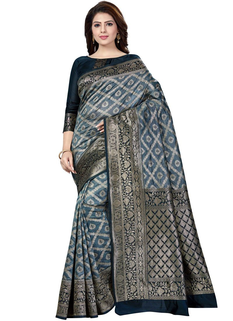Raw Silk Weaving Grey Silk Saree