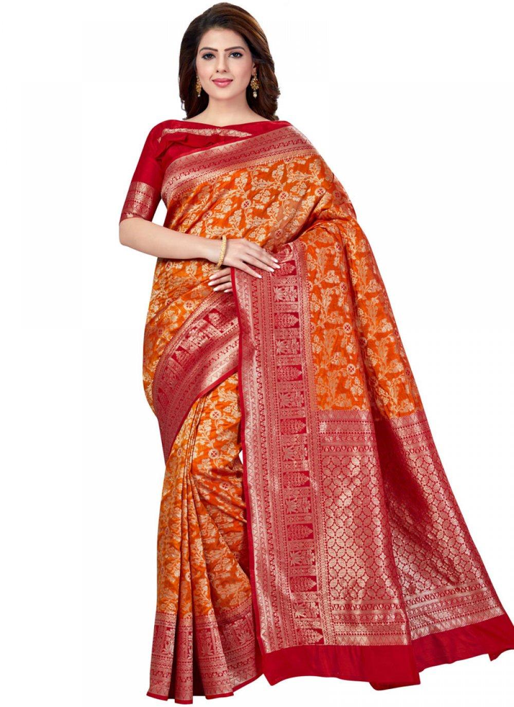 Raw Silk Weaving Orange Traditional Saree