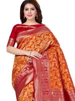 Raw Silk Weaving Orange Traditional Saree