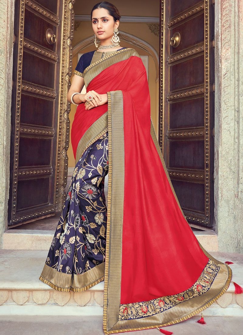 Raw Silk Weaving Red and Violet Traditional Designer Saree