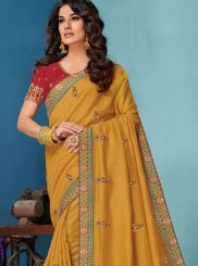 Raw Silk Yellow Embroidered Designer Traditional Saree