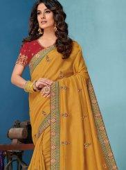Raw Silk Yellow Embroidered Designer Traditional Saree