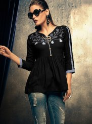 Rayon Black Embroidered Casual Kurti