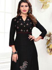 Rayon Black Embroidered Party Wear Kurti