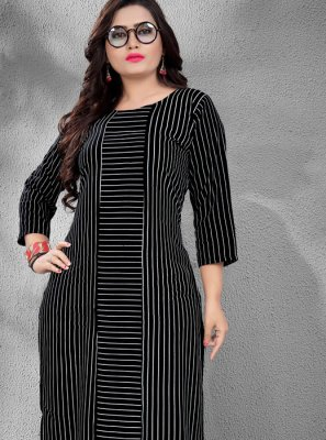 Rayon Black Fancy Casual Kurti