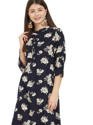 Rayon Black Print Party Wear Kurti