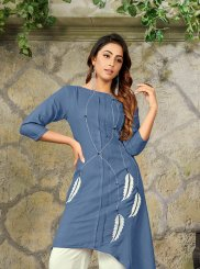 Rayon Blue Party Wear Kurti