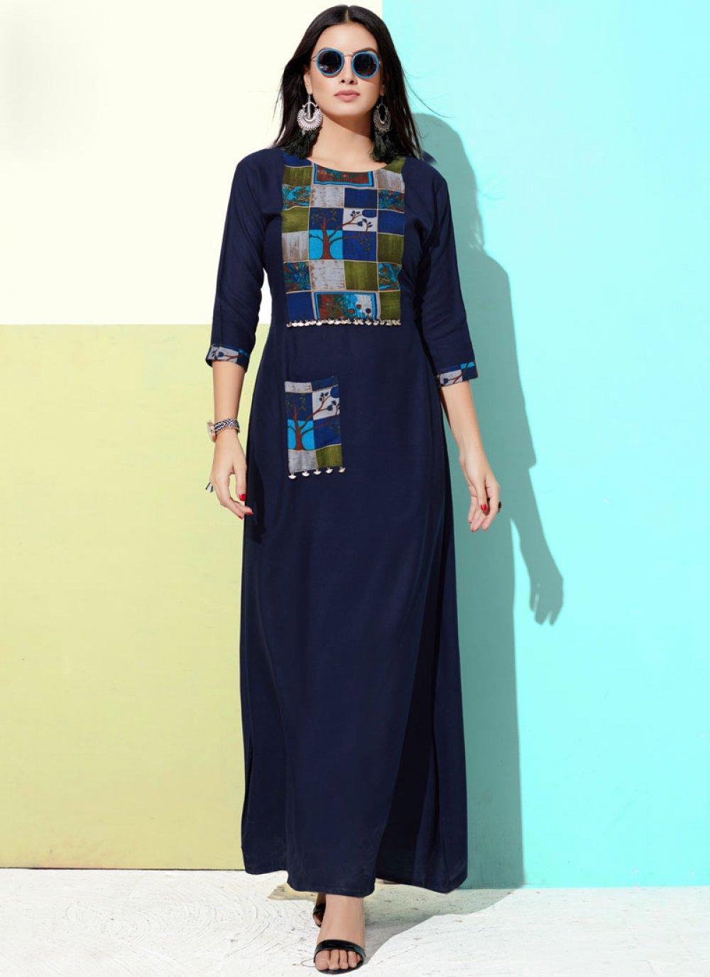 Rayon Blue Print Party Wear Kurti