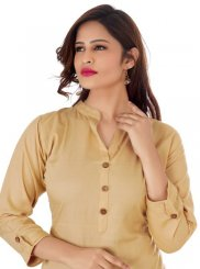 Rayon Buttons Beige Casual Kurti