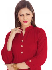 Rayon Buttons Casual Kurti in Red