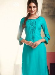 Rayon Casual Kurti in Aqua Blue