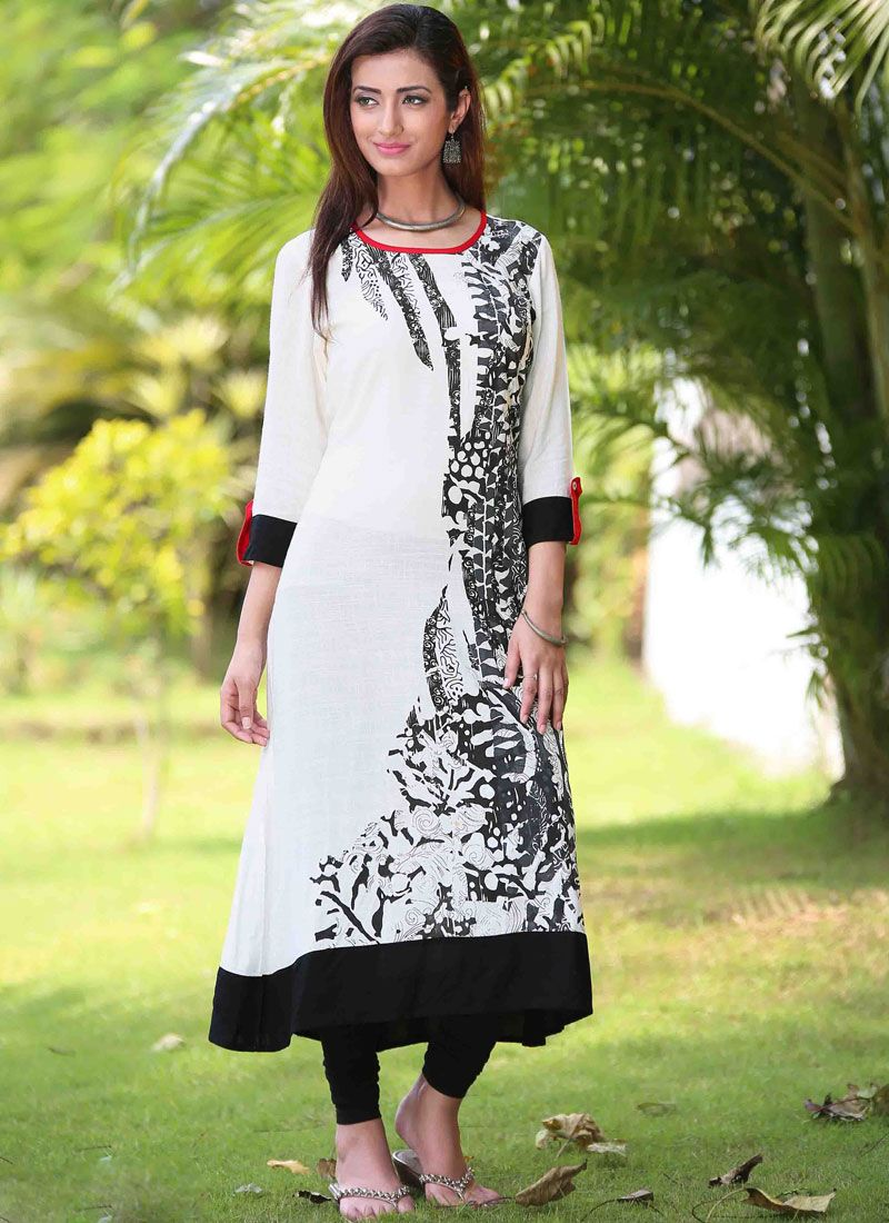 Rayon Casual Kurti in White