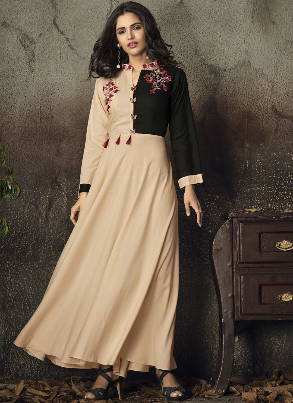 Rayon Cream Embroidered Party Wear Kurti