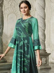 Rayon Digital Print Designer Kurti in Green