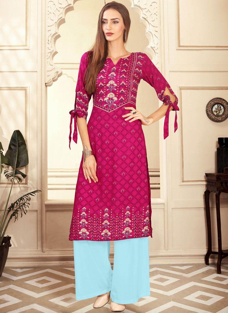 Rayon Digital Print Pink Palazzo Designer Salwar Kameez