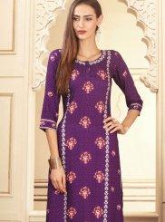 Rayon Digital Print Purple Palazzo Designer Suit